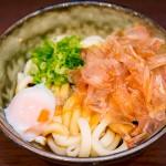 かつおぶし、ねぎというシンプルな具材で麺そのもののうまさを強調する「伊勢うどん」(580円)※温泉卵はトッピング
