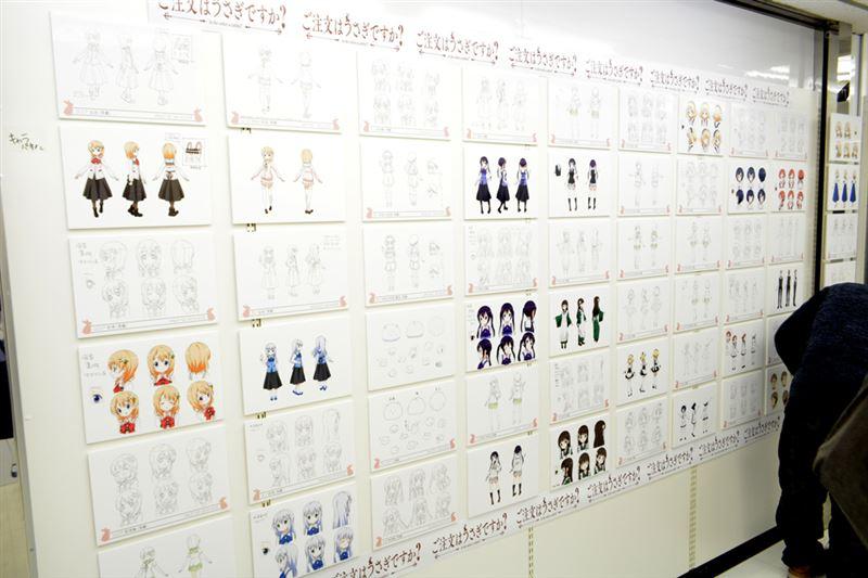 ▲キャラクター設定資料や原画など、貴重な展示物が一杯。