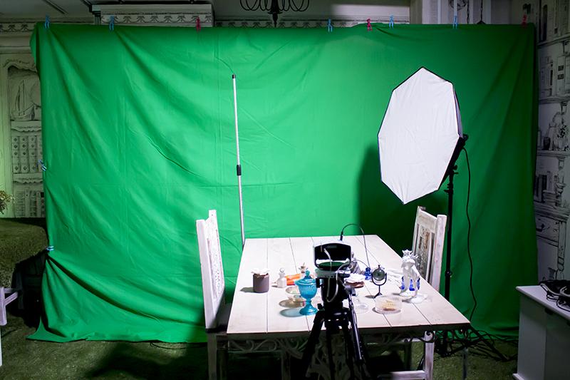 ▲クロマキーを使用した本格的な合成撮影コーナーも準備中。