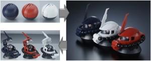 丸い殻状で出てきてパーツを展開させるとザク頭部が完成する。【左より:ガイア機、 シン・マツナガ機、 ジョニー・ライデン機】 (C)創通・サンライズ