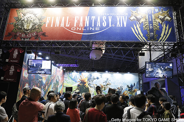 CHIBA, JAPAN - SEPTEMBER 21: FINAL FANTASY XIV's logo is seen in Square Enix Co. booth during the Tokyo Game Show 2017 at Makuhari Messe on September 21, 2017 in Chiba, Japan. The annual game show, which 600 companies exhibit games for various platforms from game consoles to mobile phones, is taken place until September 24, featuring e-sports this time. (Photo by Ken Ishii/Getty Images )