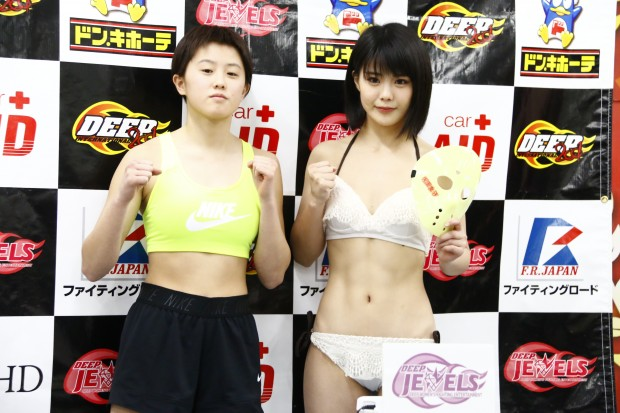 対戦相手のJKファイター・古瀬美月(左)