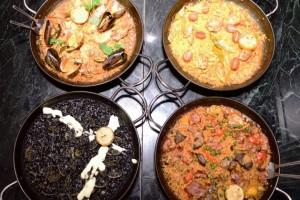 パエリアのベース:4種 シーフード、バレンシア、イベリコ、イカスミから選べる