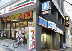 セブン―イレブン(左)とローソンの店舗
