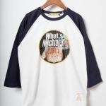 マイケル 七分袖ラグランTシャツ/ホワイト×ネイビー