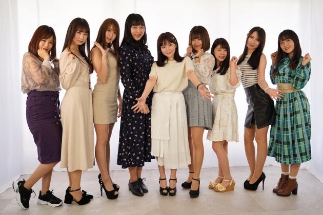 第11回ミスヤングチャンピオン候補者たち。左からナミ、なるみれい、瀬戸ローズ、竹花有紗、塚田ありさ、白石かえで、紗月めい、サーシャ菜美、白藤有華